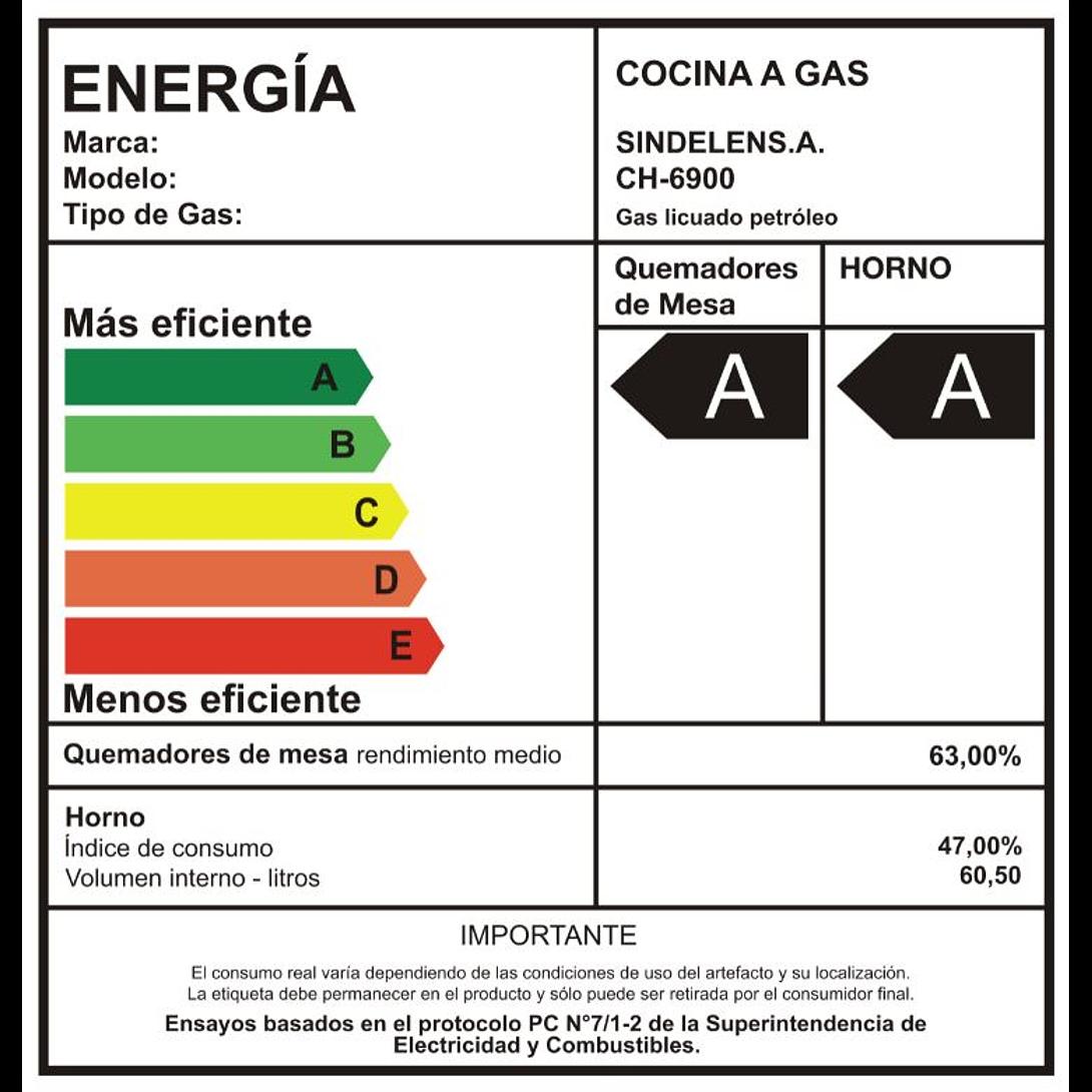 COCINAS A GAS 4 QUEMADORES CH-6900 SINDELEN