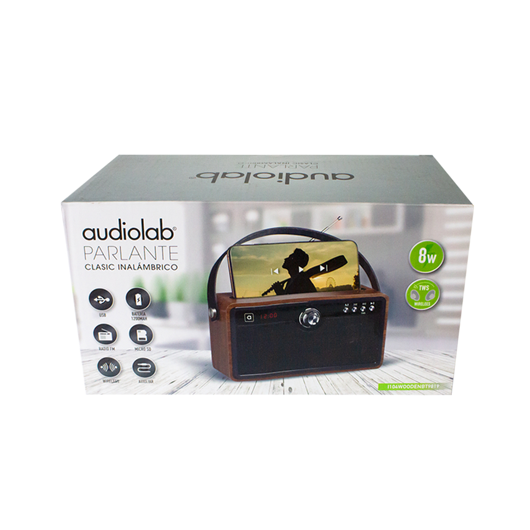 PARLANTE 9819 BLUETOOTH/USB/TF/FM/AUX/TWS I104WOODENBT981 AUDIOLAB