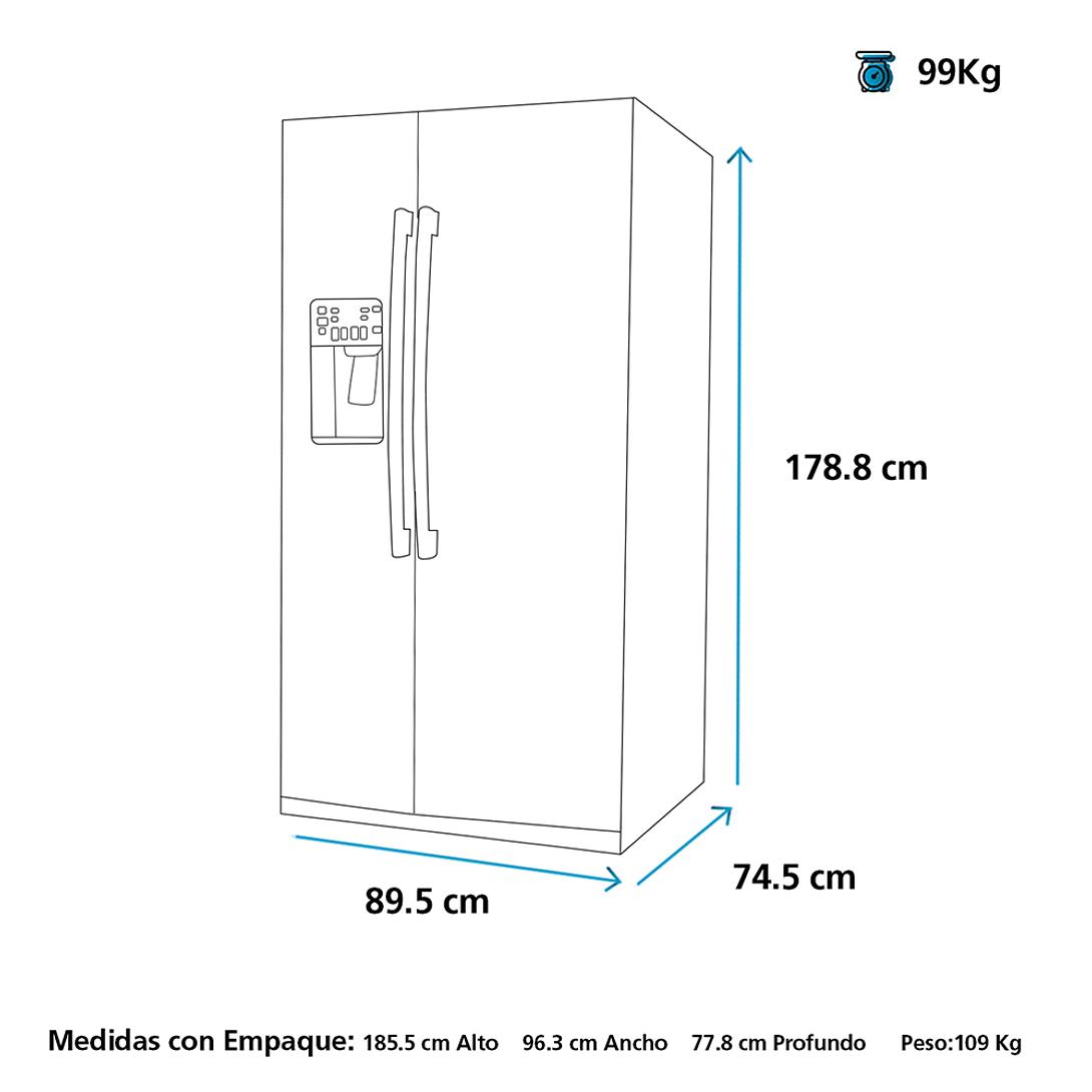 REFRIGERADOR SIDE BY SIDE 525 LTS MSC525SERBS0 MABE