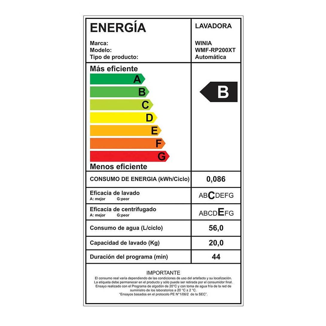 LAVADORA 20 KG REAR PANEL WMF-RP200XT WINIA
