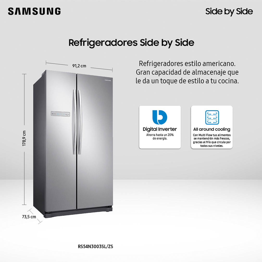 REFRIGERADOR SIDE BY SIDE 535 LTS NO FROST RS54N3003SL/ZS SAMSUNG
