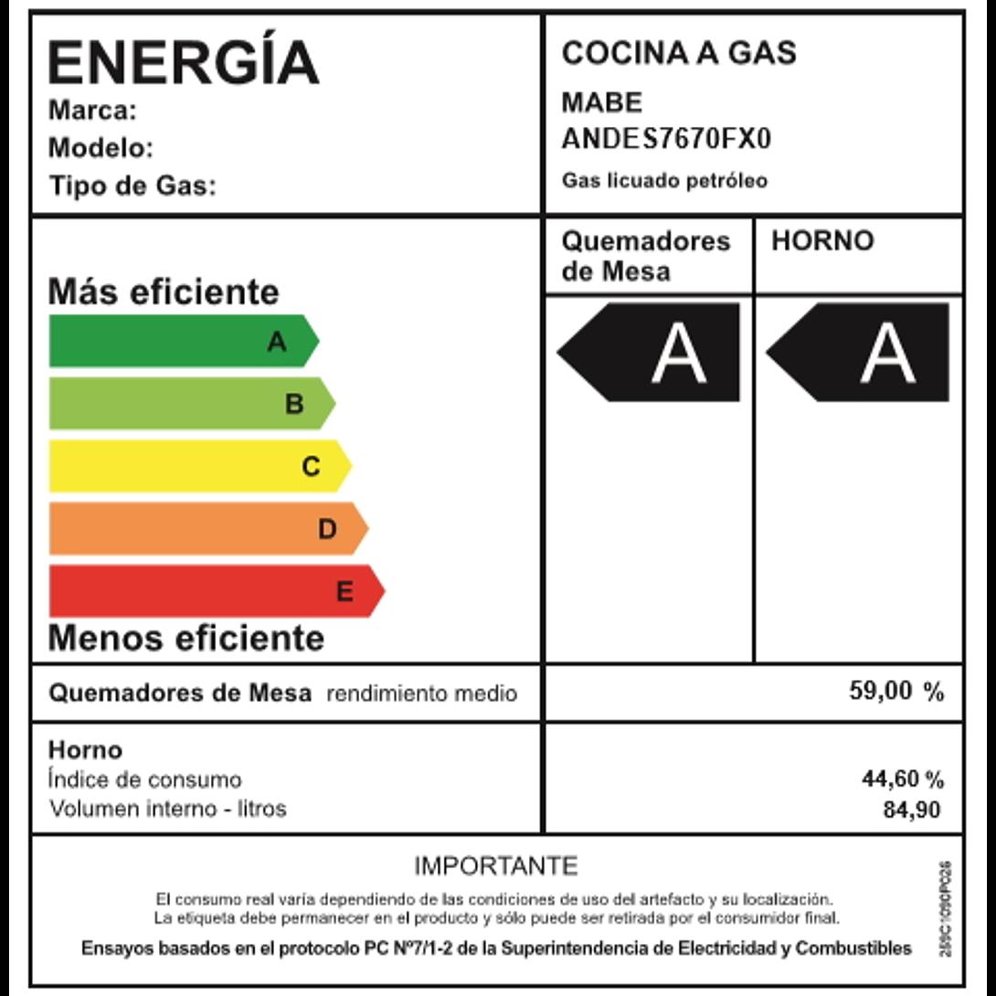 COCINA A GAS 5 QUEMADORES ANDES7670FX0 MABE