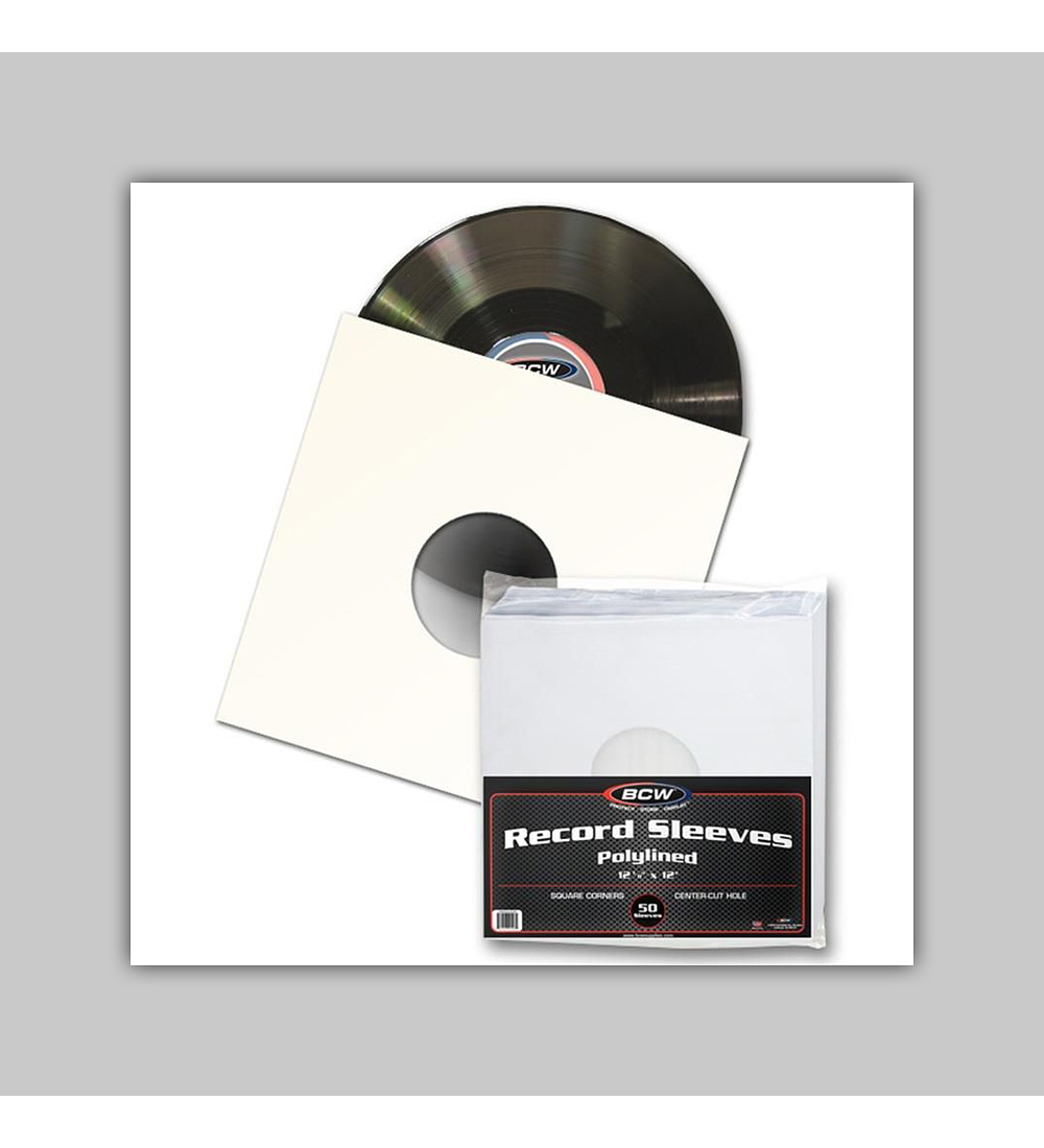 Paper Record Sleeves 33 RPM - Polylined Square Corners - With Hole (50)