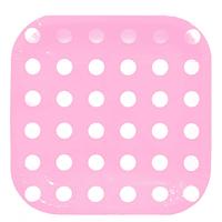Platos Dots Rosa Cuadrados