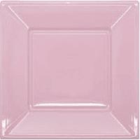 Platos plásticos cuadrados Rosa