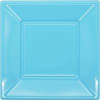 Platos Plásticos Cuadrados Celestes