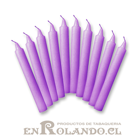 Set de 10 Velas Candelabro Violeta