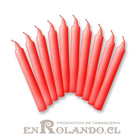 Set de 10 Velas Candelabro Rojo