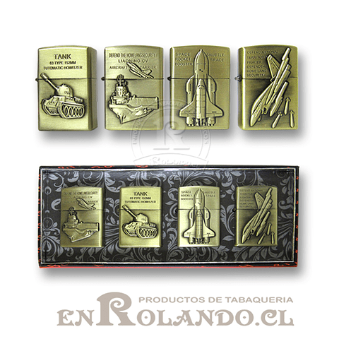 Encendedores Recargables Metálicos - Set Militar (4 diseños)