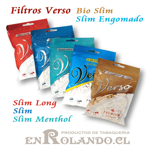 Filtros Verso Bio Slim Long - Bolsa ($690 x Mayor)