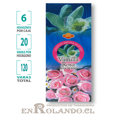 "Incienso SAC  ""Vainilla - Rosa"" ($1.600 x MAYOR)- 120 varas"