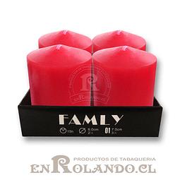 Set 4 Velas Pilar Roja - Alto 7 cm