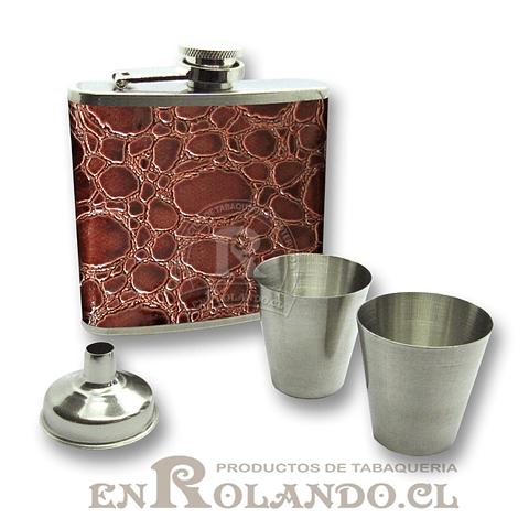 Petaca de Aluminio y Eco Cuero #331B ($4.990 x Mayor)