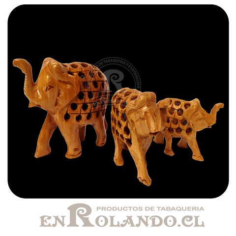 Set 3 Elefantes de Madera Natural #293 ($5.990 x Mayor)