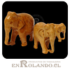 Set 3 Elefantes de Madera Natural #287 ($7.990 x Mayor)