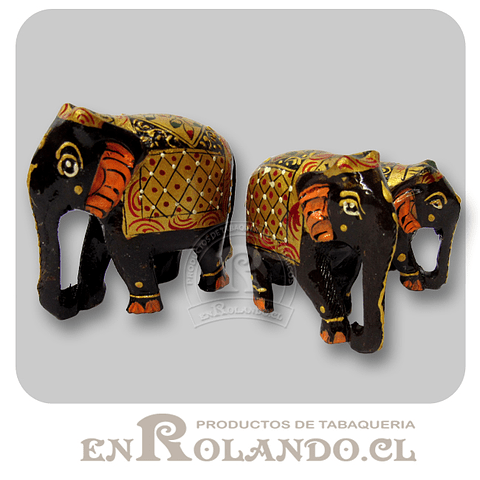Set 3 Elefantes de Madera Pintados #284 ($6.990 x Mayor)