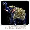 Elefante Metálico Azul Esmaltado #461 ($14.990 x Mayor)