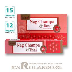 """Incienso Tulasi """"Nag Champa y Rosa"""" - 12 Cajitas de 15 gr."""