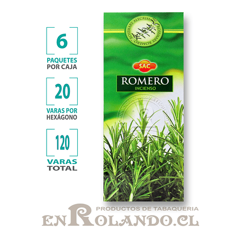 "Incienso SAC  ""Romero"" ($1.600 x MAYOR) - 120 varas"