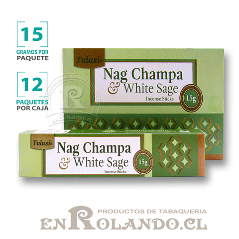 """Incienso Tulasi """"Nag Champa y Salvia Blanca"""" - 12 Cajitas de 15 gr."""