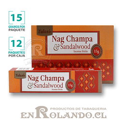 """Incienso Tulasi """"Nag Champa y Sándalo"""" - 12 Cajitas de 15 gr."""