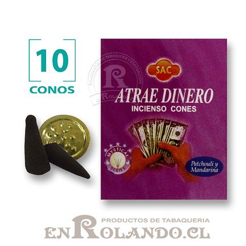 """Caja de 10 Conos Tradicionales """"Atrae Dinero"""" ($415 x Mayor)"""