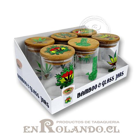 Tarro Hermético Bambú y Vidrio #3009 ($3.990 x Mayor)