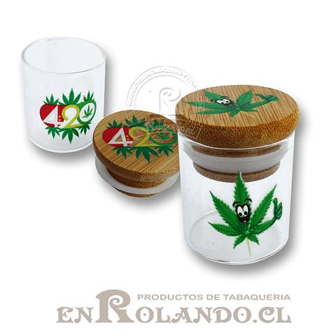 Tarro Hermético Bambú y Vidrio #3006 ($1.990 x Mayor)