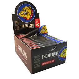 Papelillos The Bulldog Black 1 1/4 +  Tips  - Display