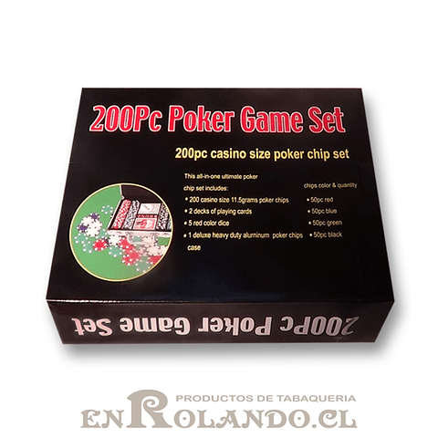 Set Maleta Poker 200 Fichas ($17.990 x Mayor)