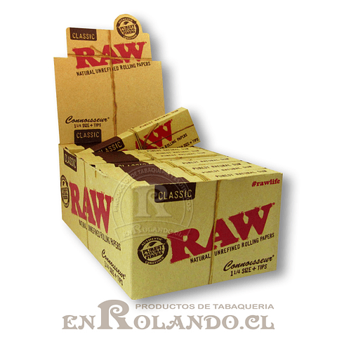 Papelillos Raw 1  1 /4 + Tips (Connoisseur) - Display