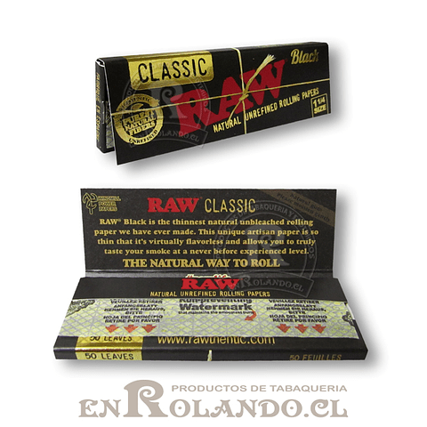 Papelillos RAW Clasic Black 1 1/4 - Display