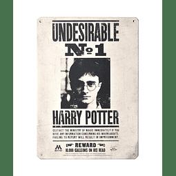 Placa de Metal Harry Potter Undesirable Nº 1