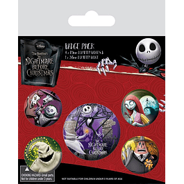The Nightmare Before Christmas Pin Badges 5-Pack Characters