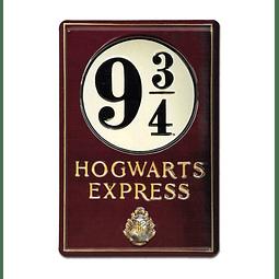 Placa de Metal 3D Harry Potter Platform 9 3/4