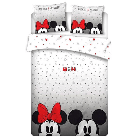 Conjunto Reversível Capa de Edredon e Fronhas de Almofada Disney Mickey & Minnie