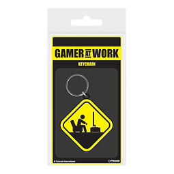 Porta-chaves Gamer at Work Caution Sign