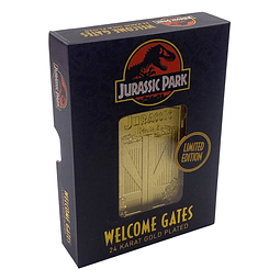 Jurassic Park Card Metal Entrance Gates Limited Edition (Gold Plated)