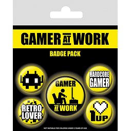 Gamer at Work Pin Badges 5-Pack