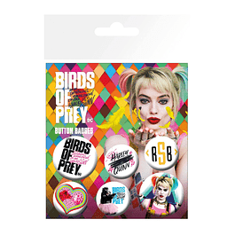 Birds of Prey Pin Badges 6-Pack Harley Quinn