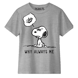 T-shirt Criança Peanuts Snoopy Why Always Me?
