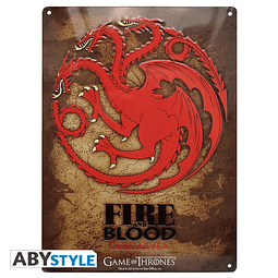 Placa de Metal Game of Thrones Targaryen
