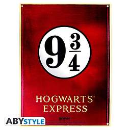 Placa de Metal Harry Potter Plataforma 9 3/4