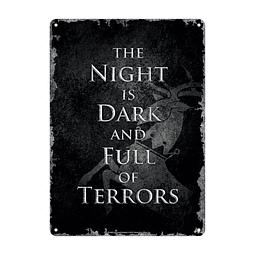 Placa de Metal Game of Thrones Night Dark