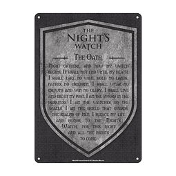 Placa de Metal Game of Thrones The Night's Watch