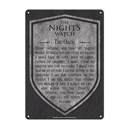 Placa de Metal Game of Thrones The Night's Watch