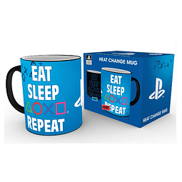 Caneca Mágica PlayStation Eat Sleep Repeat