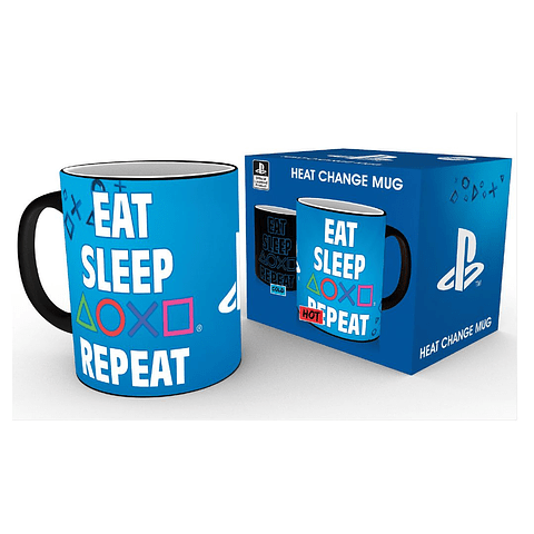 Caneca Mágica PlayStation Eat Sleep Repeat