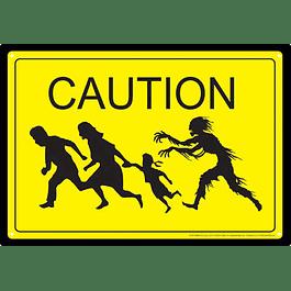 Placa de Metal Caution Zombies