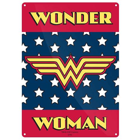 Placa de Metal Wonder Woman Logo